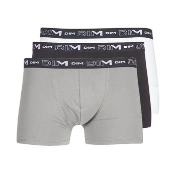 Spodní prádlo  Muži Boxerky DIM COTON STRETCH X3 Černá / Šedá / Bílá