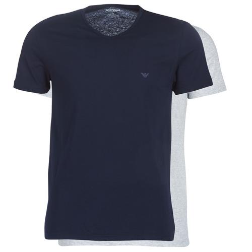 Textil Muži Trička s krátkým rukávem Emporio Armani CC722-PACK DE 2 Tmavě modrá / Šedá