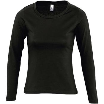 Textil Ženy Trička s dlouhými rukávy Sols MAJESTIC COLORS GIRL Negro