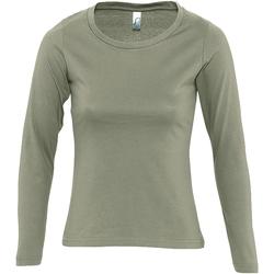 Textil Ženy Trička s dlouhými rukávy Sols MAJESTIC COLORS GIRL Verde