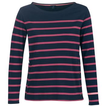 Textil Ženy Trička s dlouhými rukávy Armor Lux BRIAN Tmavě modrá / Růžová