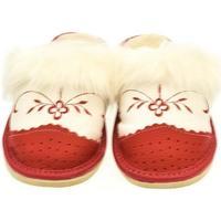 Boty Ženy Papuče John-C Dámske bielo-červené papuče VLASY červená