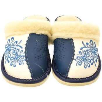 Boty Ženy Papuče John-C Dámske béžovo-modré papuče TATTOO tmavomodrá