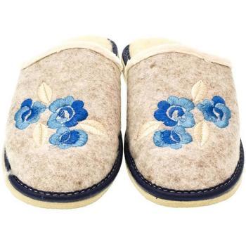Boty Ženy Papuče John-C Dámske béžovo-modré papuče KVETY modrá
