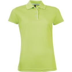 Textil Ženy Polo s krátkými rukávy Sols PERFORMER SPORT WOMEN Verde