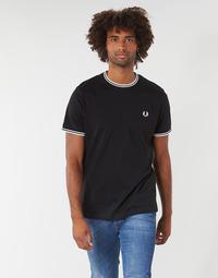 Textil Muži Trička s krátkým rukávem Fred Perry TWIN TIPPED T-SHIRT Černá