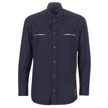 Textil Muži Košile s dlouhymi rukávy HUGO ETRUS Tmavě modrá