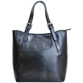 Taška Ženy Kabelky  Vera Pelle Velká černá kožená dámská kabelka přes rameno černá
