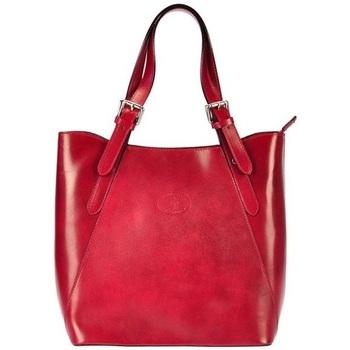 Taška Ženy Kabelky  Vera Pelle Velká červená kožená dámská kabelka přes rameno červená