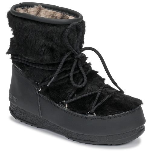 Boty Ženy Zimní boty Moon Boot MOON BOOT MONACO LOW FUR WP Černá