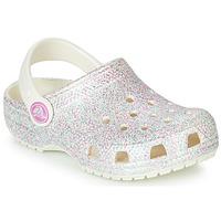 Boty Dívčí Pantofle Crocs CLASSIC GLITTER CLOG K Bílá