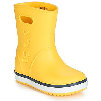 Boty Děti Holínky Crocs CROCBAND RAIN BOOT K Žlutá / Tmavě modrá