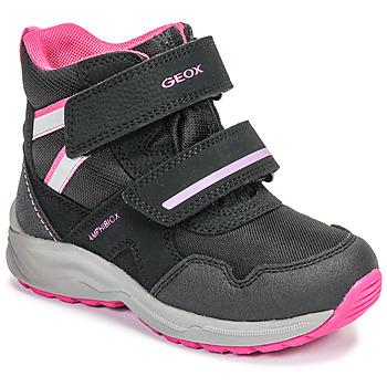 Boty Dívčí Zimní boty Geox J KURAY GIRL B ABX Černá / Růžová