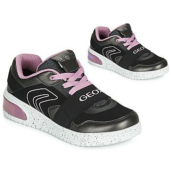 Boty Dívčí Kotníkové tenisky Geox J XLED GIRL Černá / Růžová