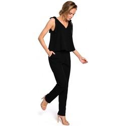 Textil Ženy Bundy Moe M437 Elegantní overal s detaily na zavazování - černý