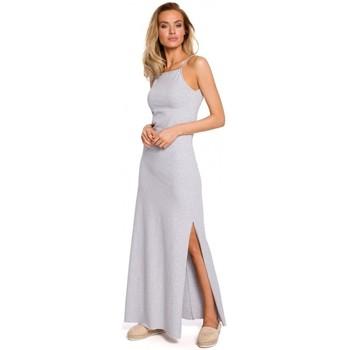Textil Ženy Halenky / Blůzy Moe M432 Maxi bavlněné šaty se špagetovými ramínky - šedé