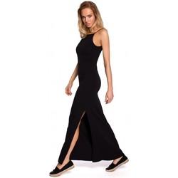 Textil Ženy Halenky / Blůzy Moe M432 Maxi bavlněné šaty se špagetovými ramínky - černé