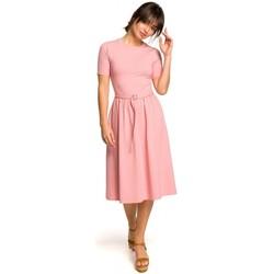 Textil Ženy Svetry / Svetry se zapínáním Be B120 Přiléhavé midi šaty - růžové