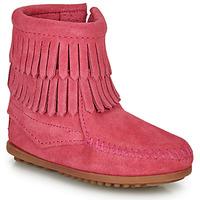 Boty Dívčí Kotníkové boty Minnetonka DOUBLE FRINGE SIDE ZIP BOOT Růžová
