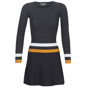 Textil Ženy Krátké šaty Morgan ROXFA Tmavě modrá / Bílá / Žlutá