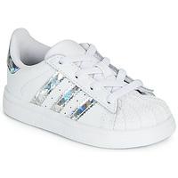 Boty Dívčí Nízké tenisky adidas Originals SUPERSTAR EL I Bílá / Stříbrná