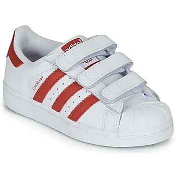 Boty Děti Nízké tenisky adidas Originals SUPERSTAR CF C Bílá / Červená