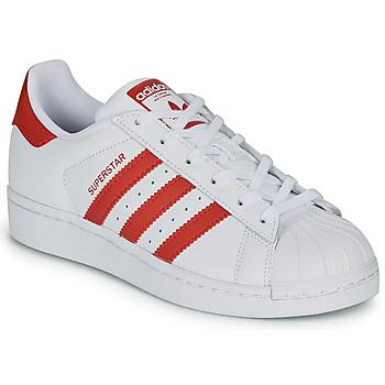 Boty Děti Nízké tenisky adidas Originals SUPERSTAR J Bílá / Červená