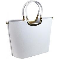 Taška Ženy Velké kabelky / Nákupní tašky Grosso Elegantní bílá matná kabelka se zlatými doplňky S7 bílá / smetanová