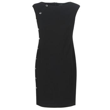 Textil Ženy Krátké šaty Lauren Ralph Lauren BUTTON-TRIM CREPE DRESS Černá