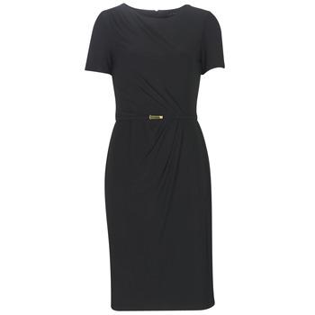 Textil Ženy Společenské šaty Lauren Ralph Lauren BELTED SHORT SLEEVE DRESS Černá