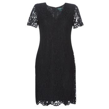 Textil Ženy Krátké šaty Lauren Ralph Lauren SCALLOPED LACE DRESS Černá