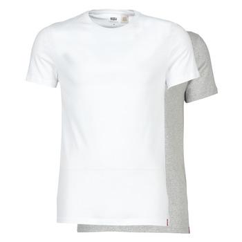 Textil Muži Trička s krátkým rukávem Levi's SLIM 2PK CREWNECK 1 Bílá / Šedá
