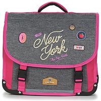 Taška Dívčí Školní aktovky Back To School POL FOX NEW YORK CARTABLE 38 CM Šedá / Růžová