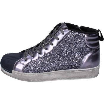 Boty Dívčí Kotníkové tenisky Holalà sneakers glitter vernice Grigio