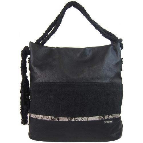 Taška Ženy Kabelky  Tessra Velká černá dámská kabelka s lanovými uchy 4543-BB černá