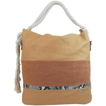 Taška Ženy Kabelky  Tessra Velká hnědá dámská kabelka s lanovými uchy 4543-BB hnědá