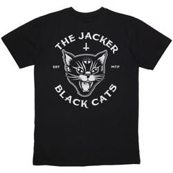 Textil Muži Trička s krátkým rukávem Jacker Black cats Černá