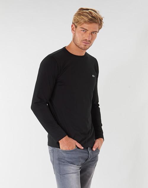 Textil Muži Trička s dlouhými rukávy Lacoste TH6712 Černá