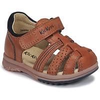 Boty Chlapecké Sandály Kickers PLATIBACK Velbloudí hnědá