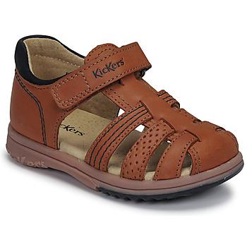 Boty Chlapecké Sandály Kickers PLATIBACK Hnědá