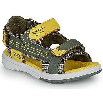 Boty Chlapecké Sandály Kickers PLANE Khaki / Žlutá