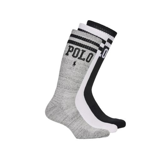 Doplňky  Muži Ponožky Polo Ralph Lauren 3PK DBLE BAR-CREW-3 PACK Bílá / Šedá / Černá