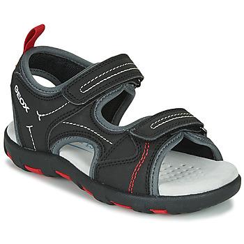 Boty Chlapecké Sportovní sandály Geox JR SANDAL PIANETA Černá / Červená