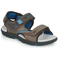 Boty Chlapecké Sportovní sandály Geox JR SANDAL STRADA Hnědá / Modrá