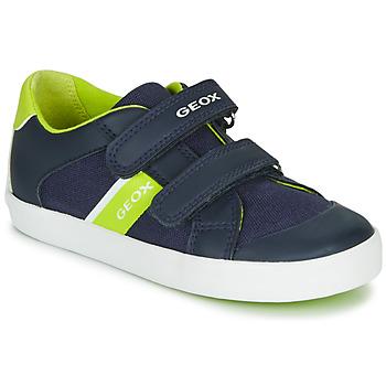 Boty Chlapecké Nízké tenisky Geox B GISLI BOY Tmavě modrá / Zelená