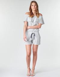 Textil Ženy Overaly / Kalhoty s laclem Deeluxe FAYME Bílá / Modrá