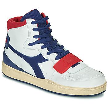 Boty Muži Kotníkové tenisky Diadora MI BASKET USED Bílá / Modrá / Červená
