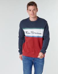 Textil Muži Mikiny Ben Sherman COLOUR BLOCKED LOGO SWEAT Tmavě modrá / Červená