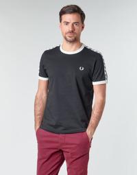 Textil Muži Trička s krátkým rukávem Fred Perry TAPED RINGER T-SHIRT Černá