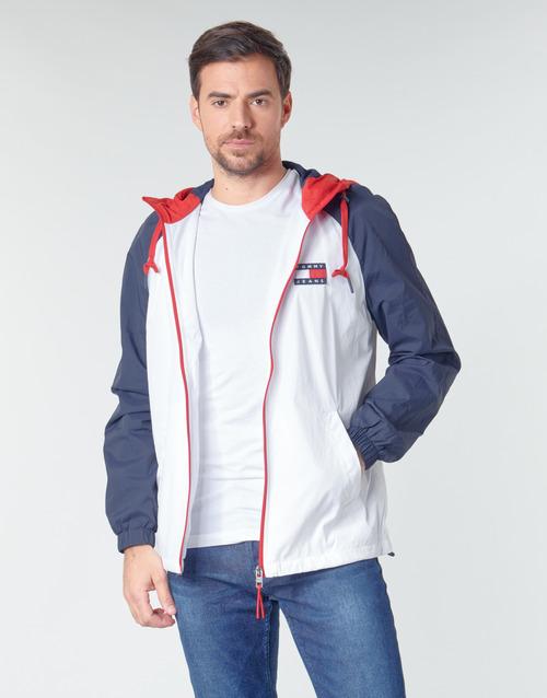 Textil Muži Bundy Tommy Jeans TJM COLORBLOCK ZIPTHROUGH JCKT Bílá / Modrá / Červená